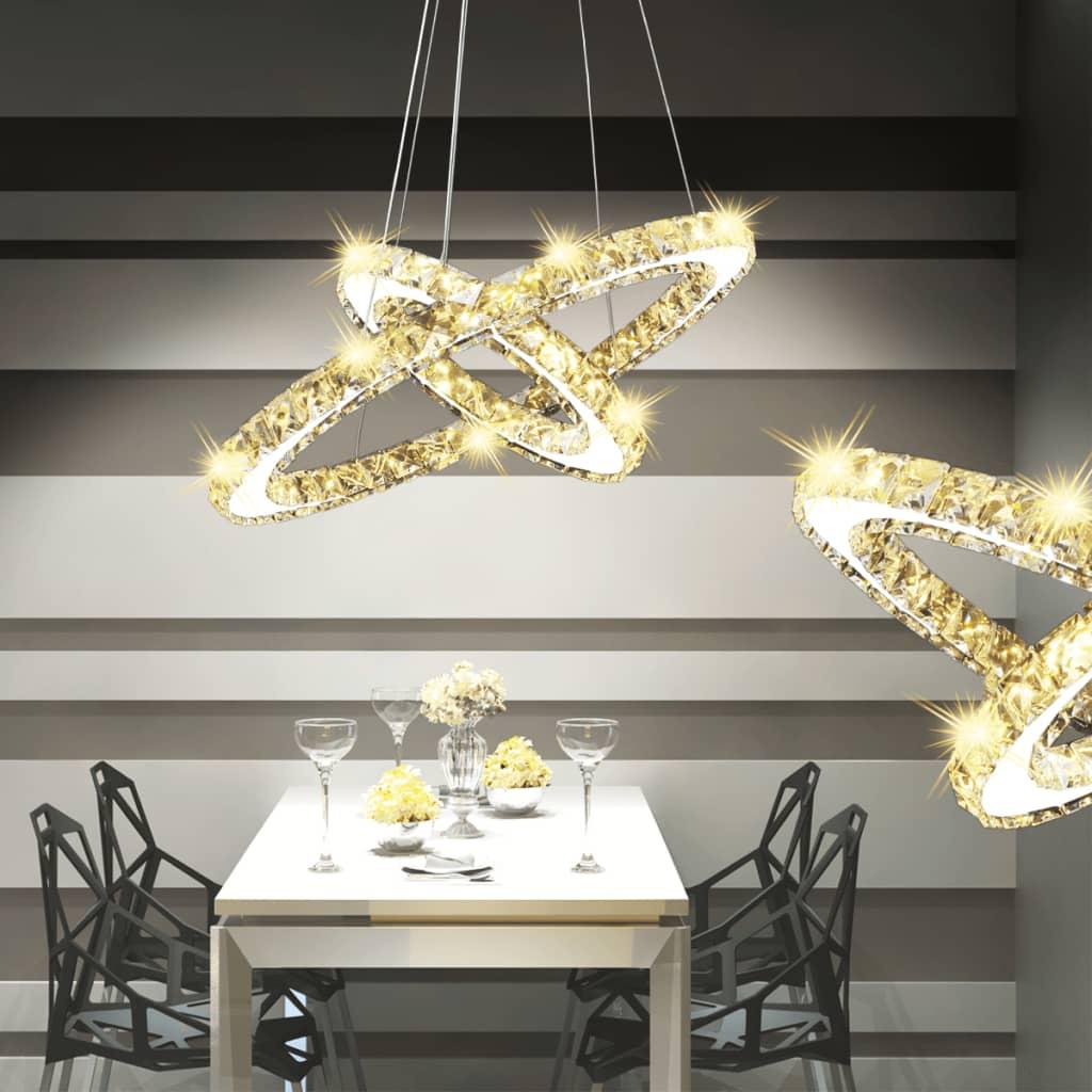 Lustră candelabru din cristal cu inel dublu cu LED-uri vidaxl.ro