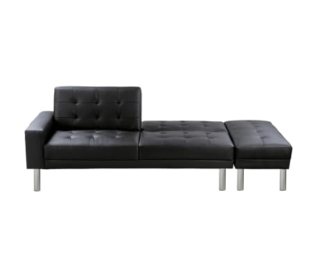 Black Adjustable Sofa Bed Artificial Leather Vidaxl Com