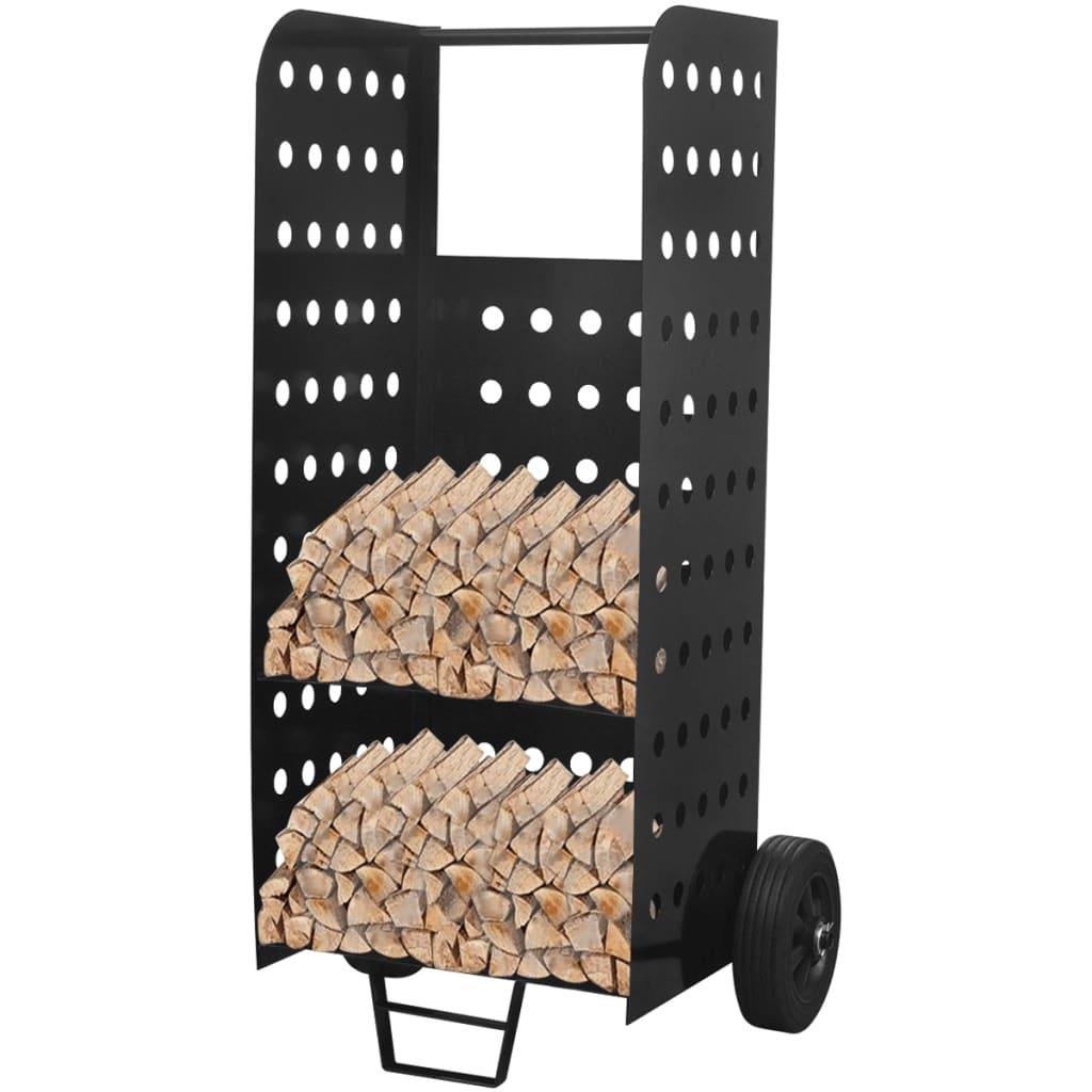 Căruț de bușteni pentru lemn de foc cu perforații decorative imagine vidaxl.ro