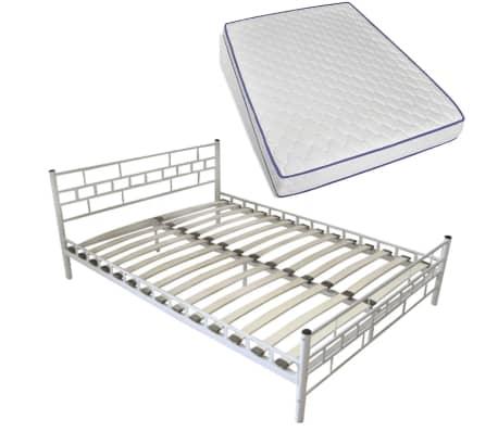 acheter lit en acier enduit de poudre 140 x 200cm blanc. Black Bedroom Furniture Sets. Home Design Ideas