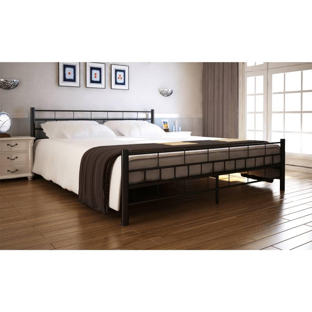 Ocelová postel práškový lak 180x200cm černá + matrace + vrchní matrace