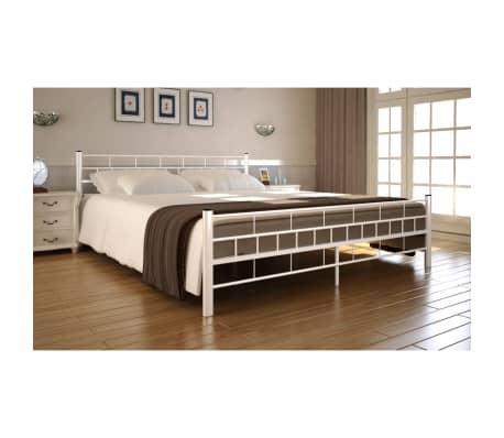 acheter lit en acier enduit de poudre 180 x 200 cm blanc matelas surmatelas pas cher. Black Bedroom Furniture Sets. Home Design Ideas