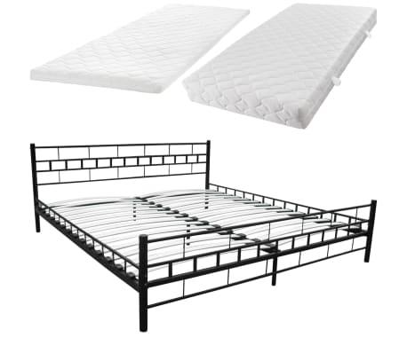 acheter lit en acier 180 x 200 cm noir matelas surmatelas m moire pas cher. Black Bedroom Furniture Sets. Home Design Ideas
