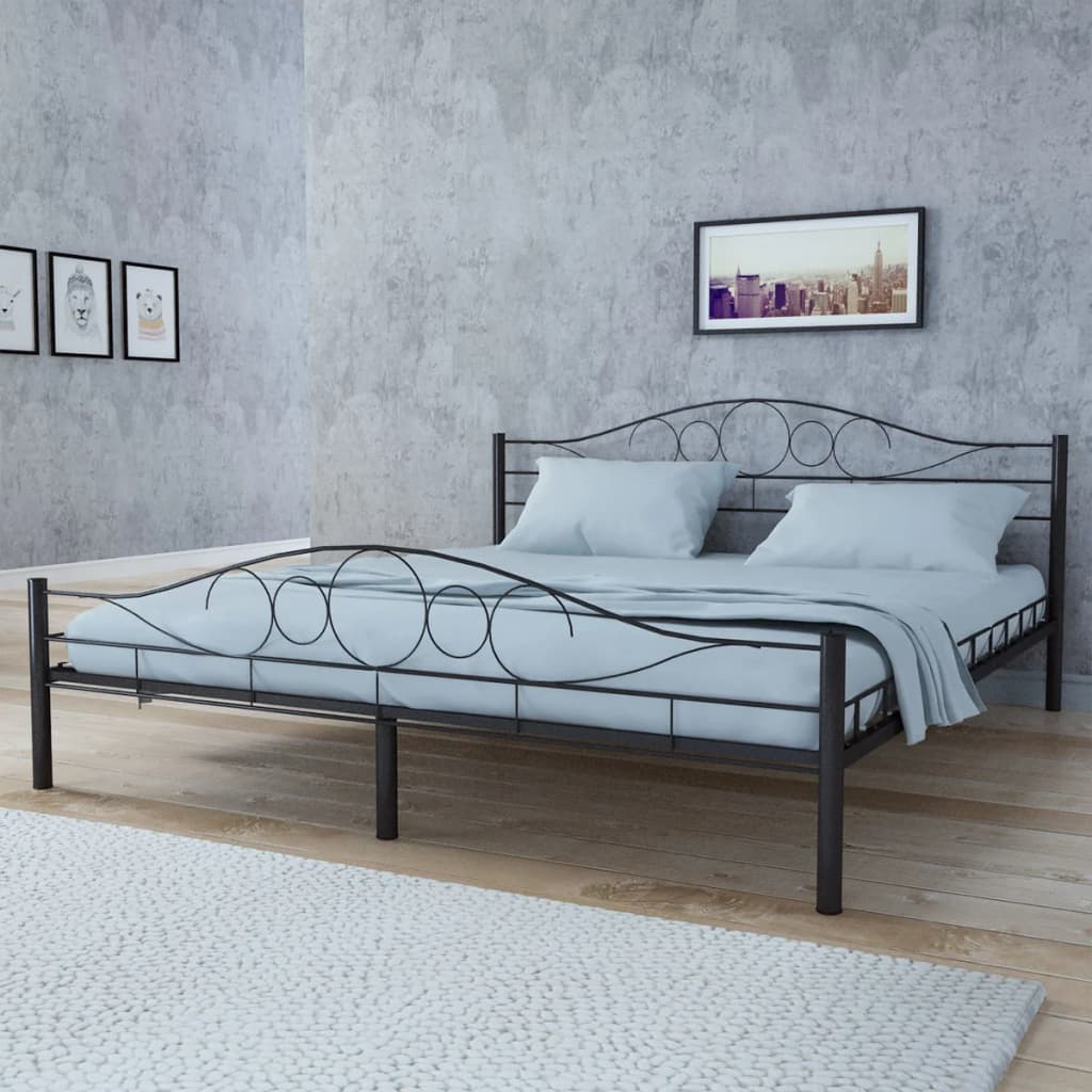 Ocelová postel 140x200cm černá + matrace +vrchní matrace paměťová pěna