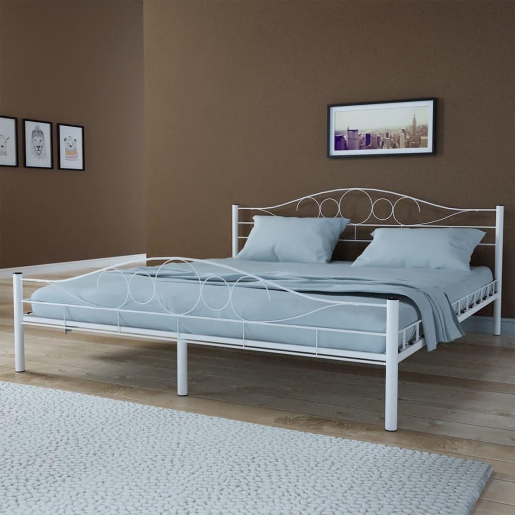 Ocelová postel 180x200cm bílá +matrace +vrchní matrace paměťová pěna