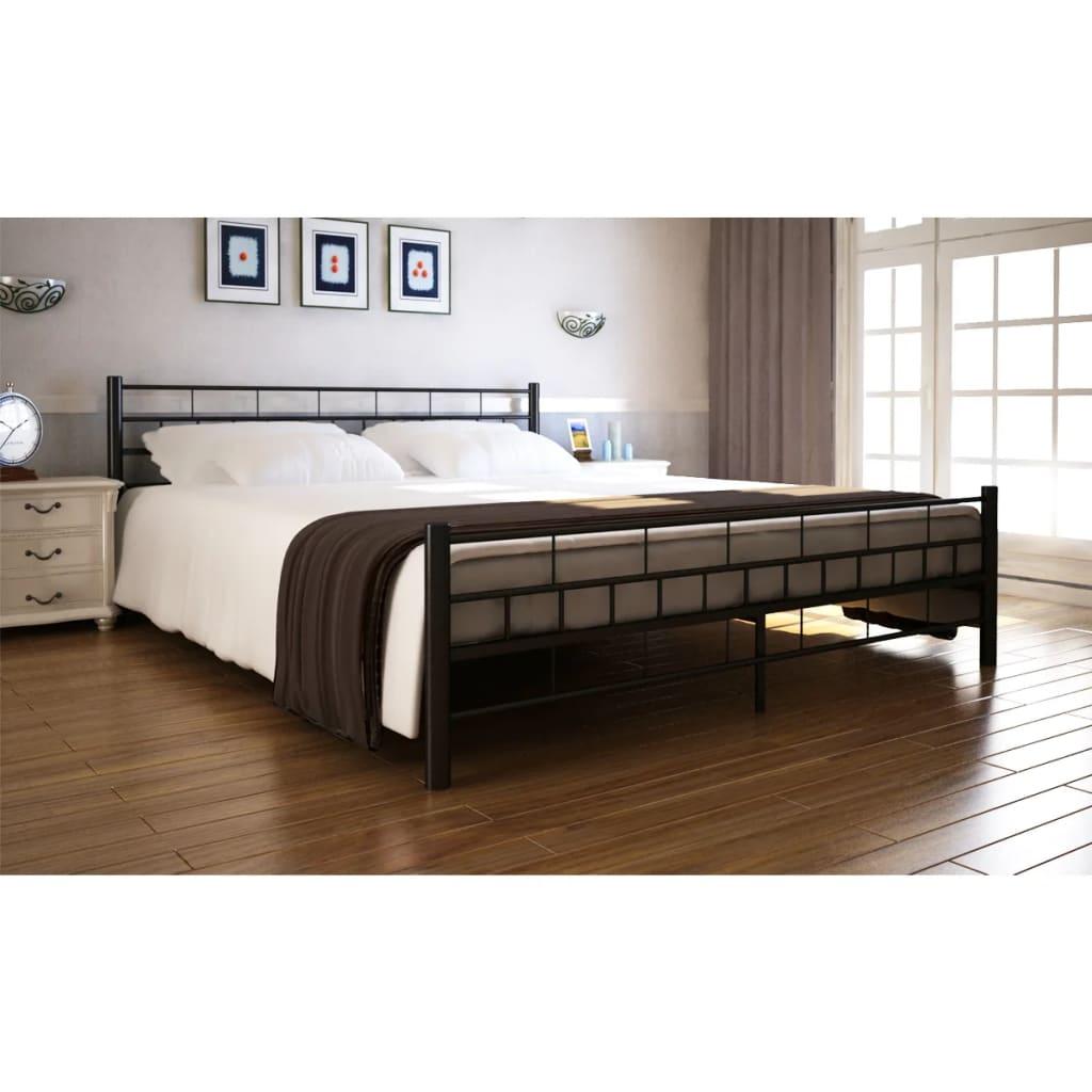 Ocelová postel 180x200cm černá +matrace a svrchní matrace paměťová pěna