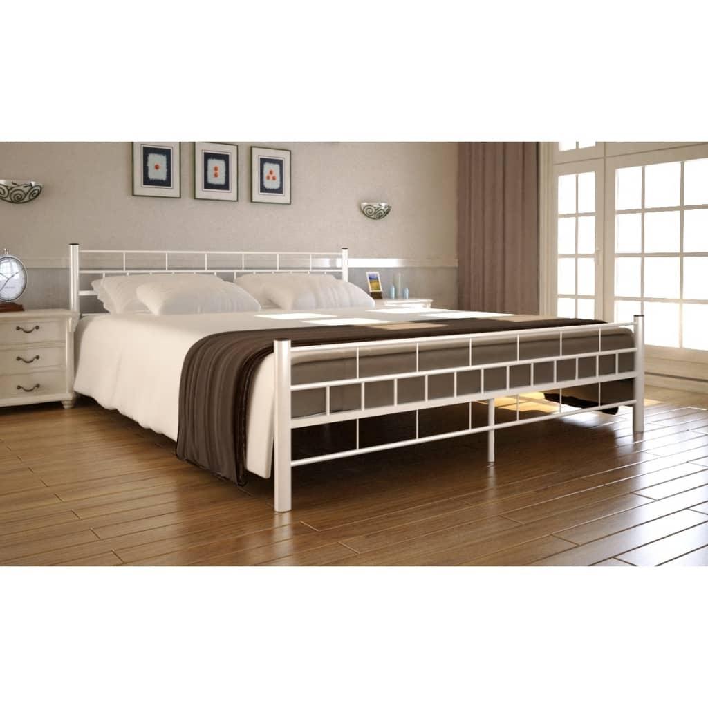Ocelová postel 140x200cm bílá +matrace a svrchní matrace paměťová pěna