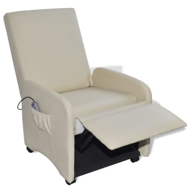 Cream Foldable Massage Recliner Artificial Leather[3/6]