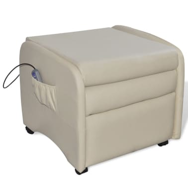 Cream Foldable Massage Recliner Artificial Leather[4/6]