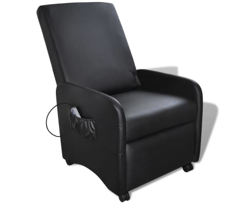 Black Foldable Massage Recliner Artificial Leather[1/6]