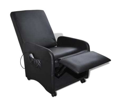 Black Foldable Massage Recliner Artificial Leather[3/6]