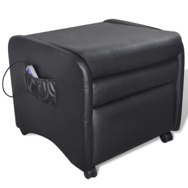 Black Foldable Massage Recliner Artificial Leather[4/6]