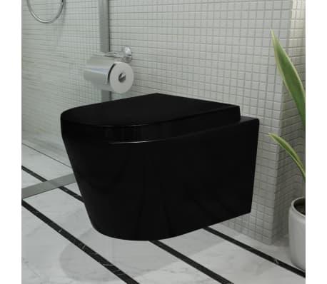 Acheter toilette murale avec amortisseur noir en c ramique for Ceramique murale pas cher