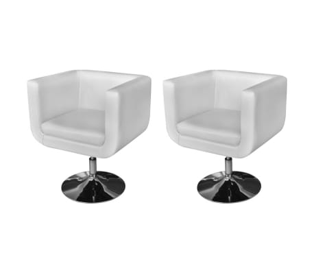 vidaXL Armchairs with Chrome Base 2 pcs White Faux Leather
