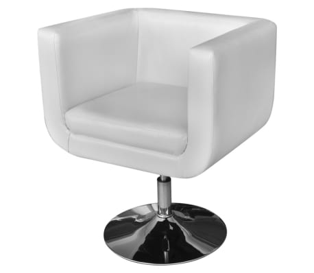 2 White Adjustable Armchairs with Chrome Base[2/6]