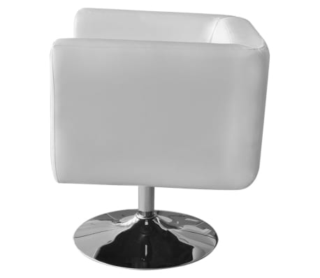 2 White Adjustable Armchairs with Chrome Base[4/6]