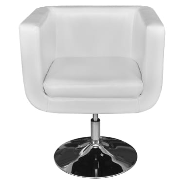 2 White Adjustable Armchairs with Chrome Base[3/6]