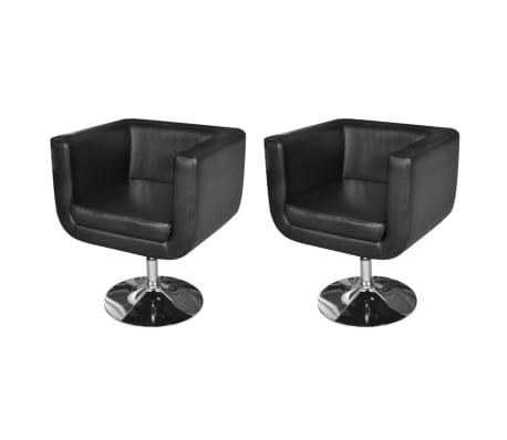 2 Black Adjustable Armchairs with Chrome Base[1/6]