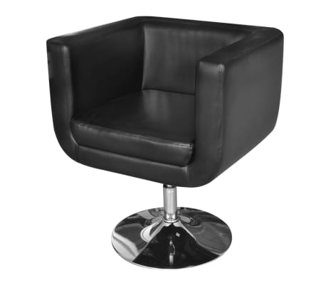 2 Black Adjustable Armchairs with Chrome Base[2/6]