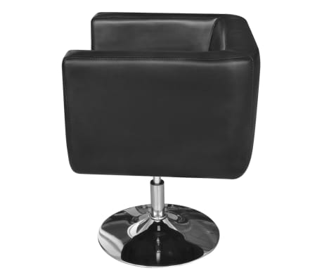 2 Black Adjustable Armchairs with Chrome Base[4/6]