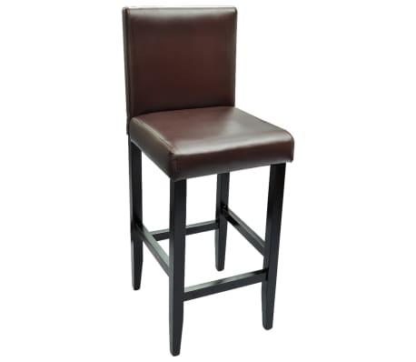 87973ea57b1b5 6 Modern Brown Bar Stools Artificial Leather 2 3