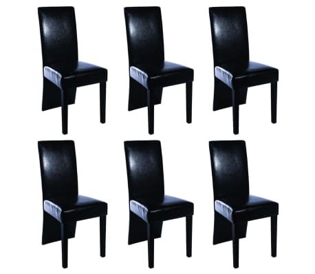 6 Artificial Leather Wooden Dining Chairs Black[1/3]