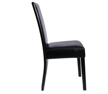6 Artificial Leather Wooden Dining Chairs Black[2/3]