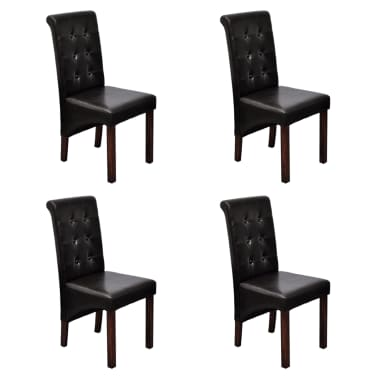 Magnificent 4 Scroll Back Artificial Leather Wooden Dining Chairs Dark Machost Co Dining Chair Design Ideas Machostcouk