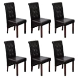 6 Scroll Back Artificial Leather Wooden Dining Chairs Dark Brown