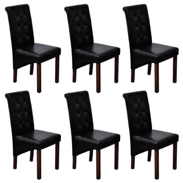 Miraculous 6 Scroll Back Artificial Leather Wooden Dining Chairs Black Machost Co Dining Chair Design Ideas Machostcouk