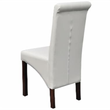 6 Scroll Back Artificial Leather Wooden Dining Chairs