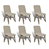 6 Beige Fabric and Solid Oak Wood Dining Chairs Indoor