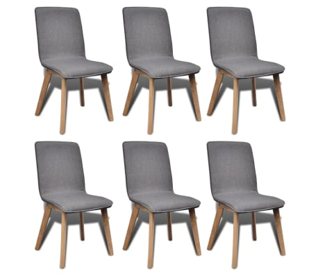 vidaXL Dining Chairs 6 pcs Dark Gray Fabric and Solid Oak Wood[1/5]