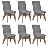 6 Dark Gray Fabric and Solid Oak Wood Dining Chairs Indoor