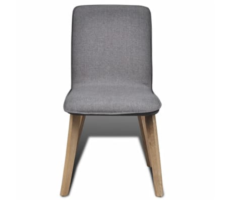 vidaXL Dining Chairs 6 pcs Dark Gray Fabric and Solid Oak Wood[3/5]