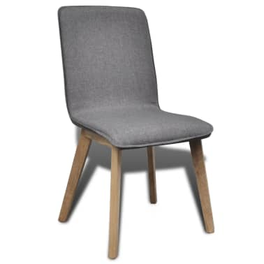 vidaXL Dining Chairs 6 pcs Dark Gray Fabric and Solid Oak Wood[2/5]