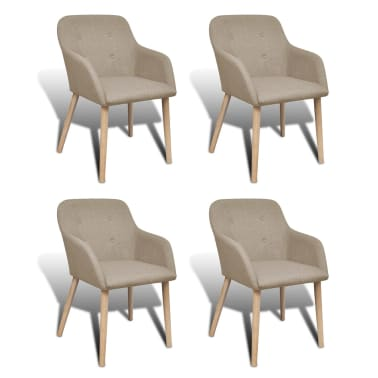 4 Fabric and Solid Oak Wood Dining Chairs with Armrest Beige[1/5]