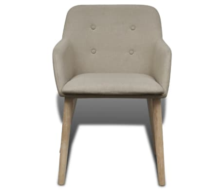 4 Fabric and Solid Oak Wood Dining Chairs with Armrest Beige[3/5]