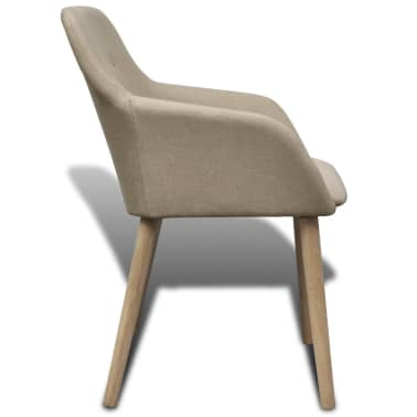 4 Fabric and Solid Oak Wood Dining Chairs with Armrest Beige[4/5]