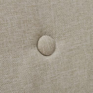 4 Fabric and Solid Oak Wood Dining Chairs with Armrest Beige[5/5]