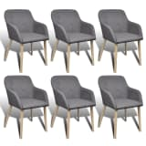 6 Fabric Dining Chairs with Armrest Dark Gray