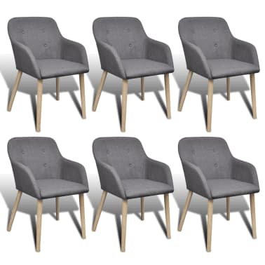 6 Fabric Dining Chairs With Armrest Dark Gray Vidaxl Com