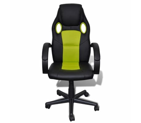 Artificial Leather Office Chair Height Adjustable Swivel Green[2/4]