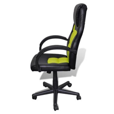 Artificial Leather Office Chair Height Adjustable Swivel Green[3/4]