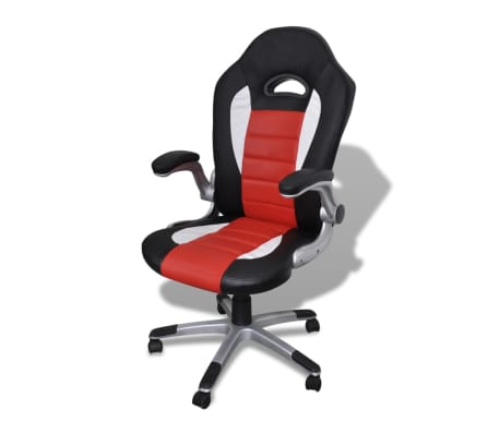 Artificial Leather Office Chair Height Adjustable Modern Red[1/6]