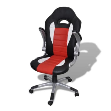 Artificial Leather Office Chair Height Adjustable Modern Red[3/6]