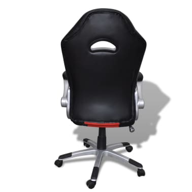 Artificial Leather Office Chair Height Adjustable Modern Red[5/6]