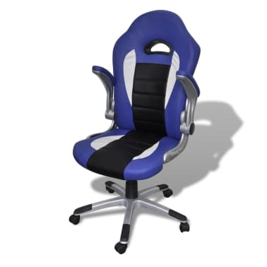 Artificial Leather Office Chair Height Adjustable Modern Blue[3/6]