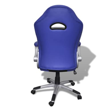 Artificial Leather Office Chair Height Adjustable Modern Blue[5/6]