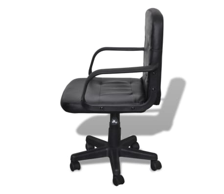 Luxury Leather Office Chair Height Adjustable Swivel Black[2/4]